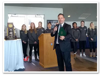 Senator Jake Corman with the PSU Women's Soccer Team
